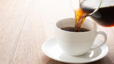 Coffee poured into cup