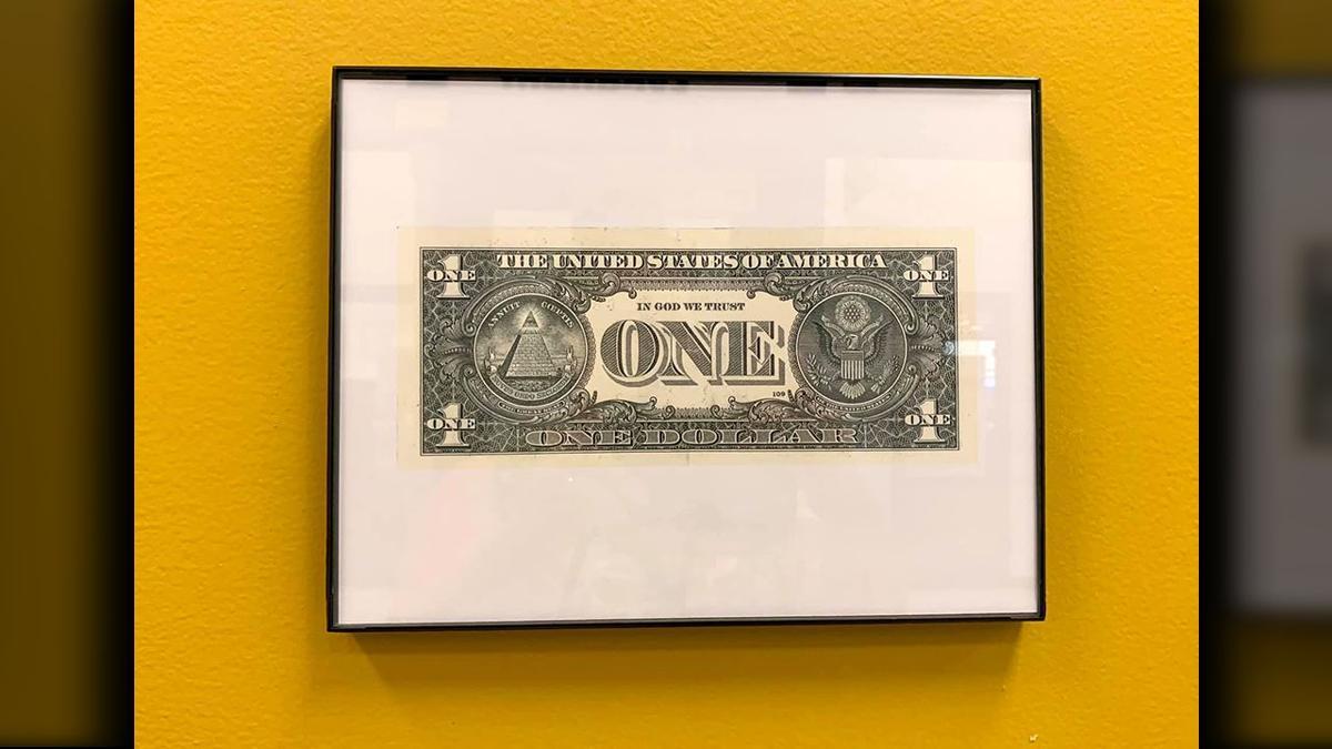 "Fayette County framed ""In God We Trust"" dollar bill"