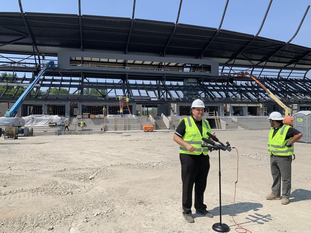 Construction crew at new Louisville City stadium