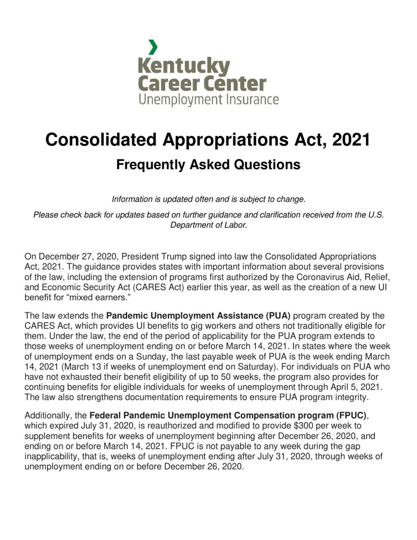 Kentucky unemployment FAQ, Jan. 19, 2021