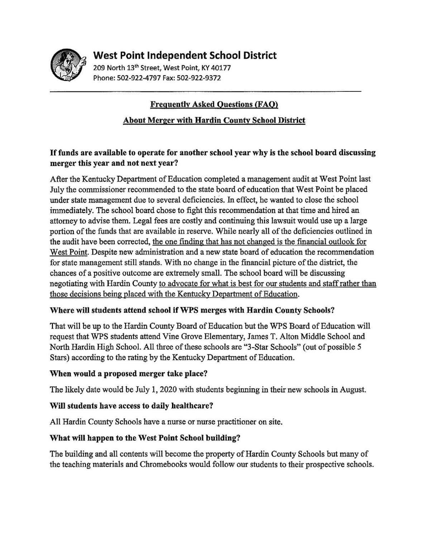 West Point Merger FAQ