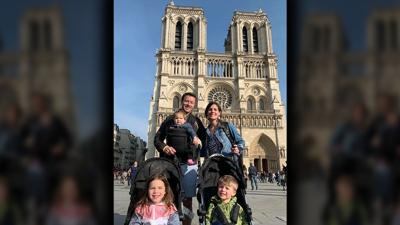 Figg Family at Notre Dame Cathedral 10 minutes before fire started