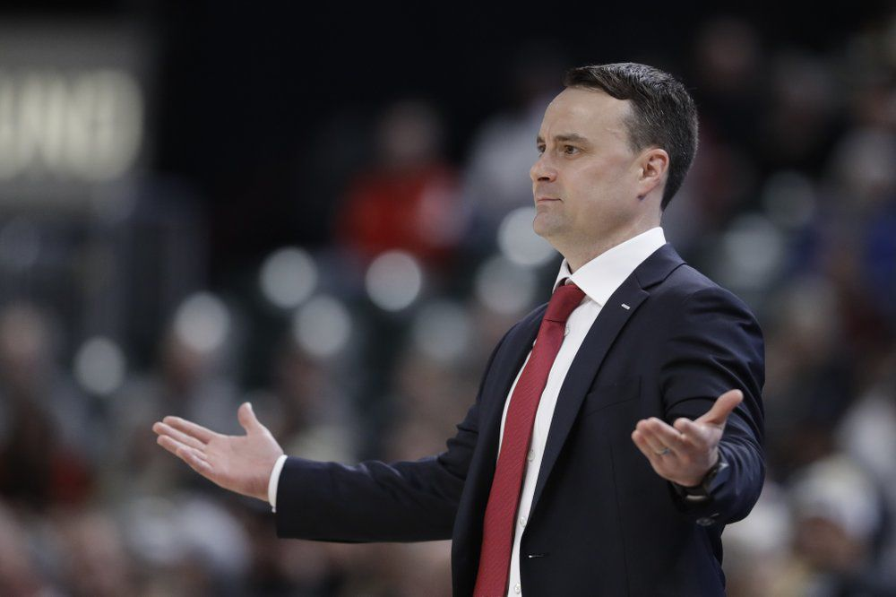 Indiana head coach Archie Miller questions a call