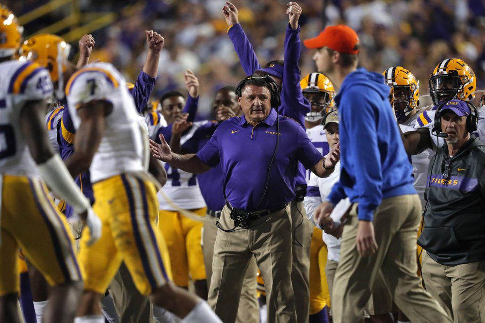 LSU head coach Ed Orgeron reacts on the sideline