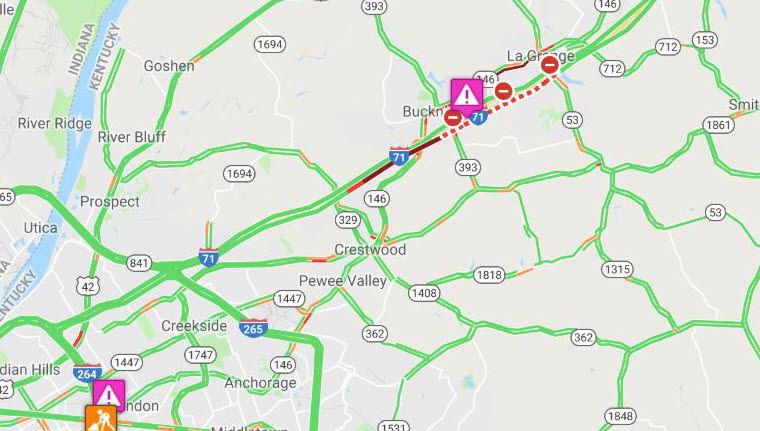 I-71 N shutdown map
