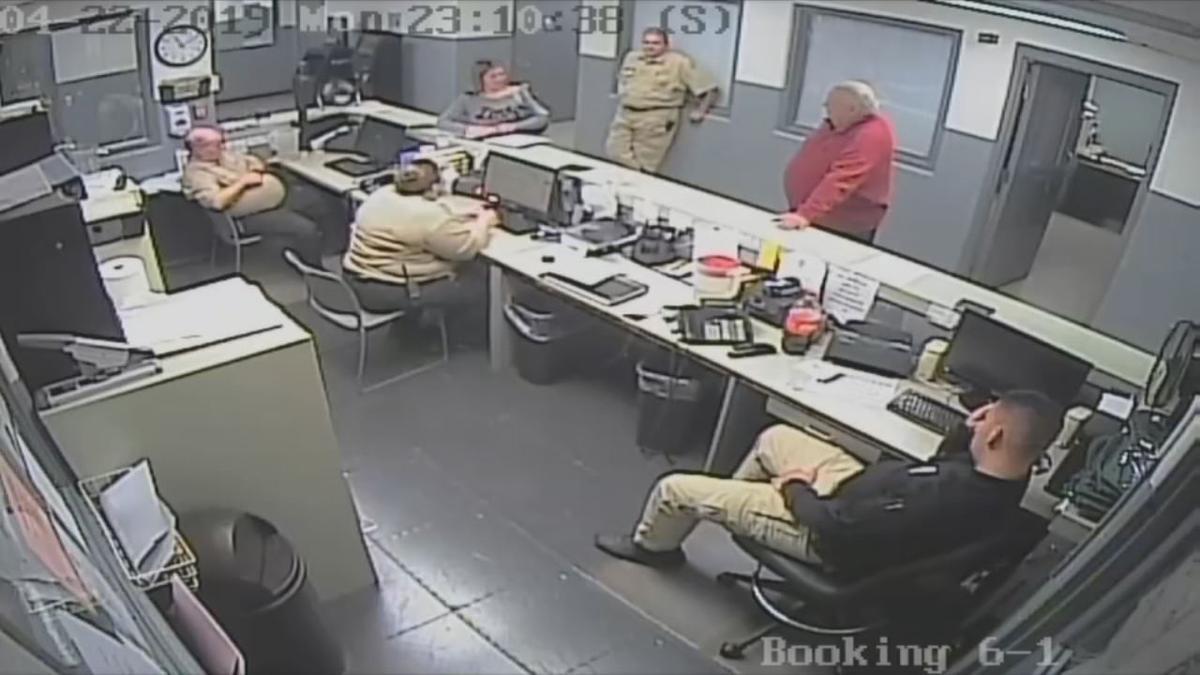 Surveillance video of Bulltt County Jailer Paul Watkins interacting with nurse