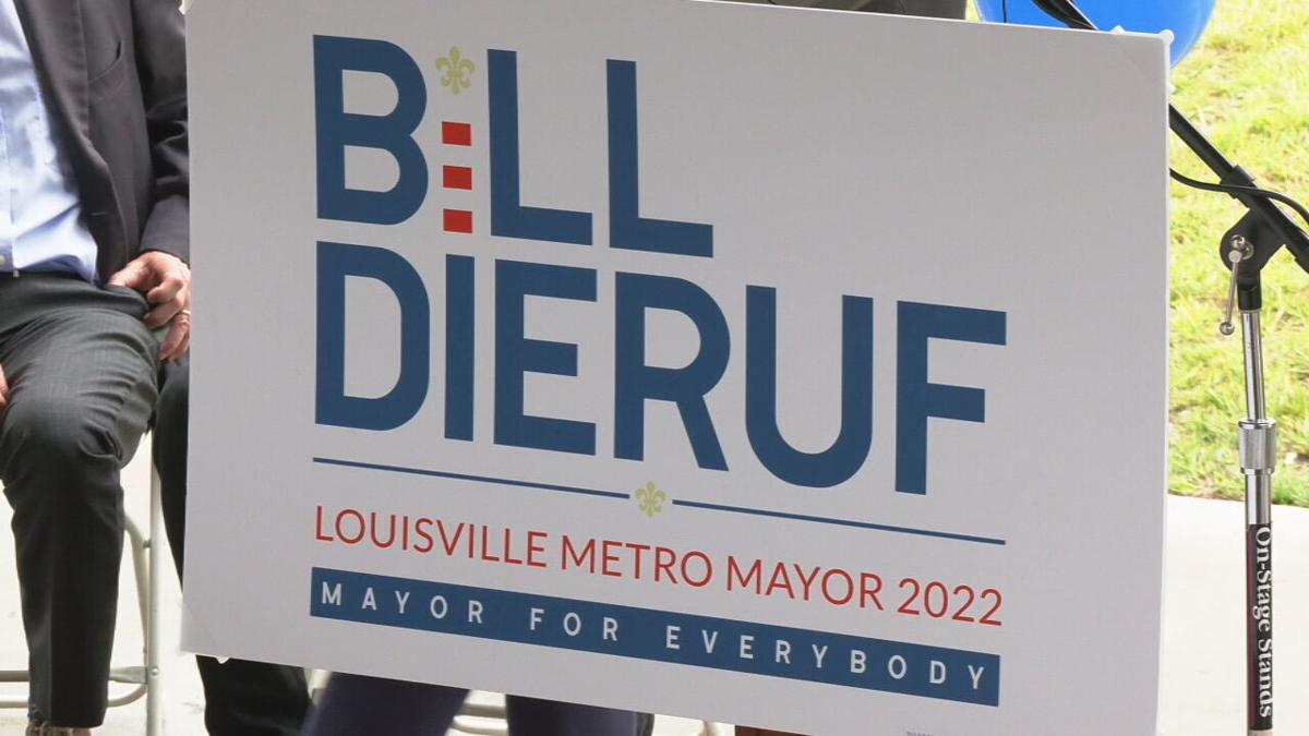 A sign for Jeffersontown Mayor Bill Dieruf's mayoral candidacy