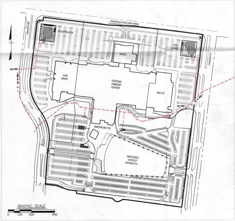 Oxmoor Center restaurants site plan