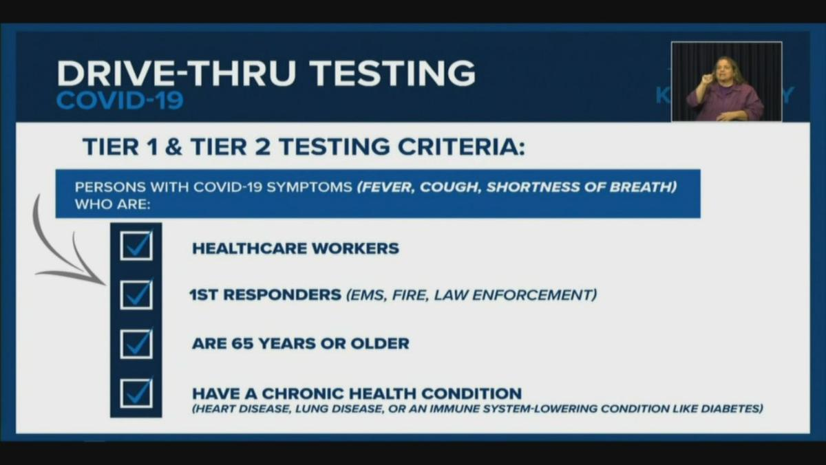 Who will be eligible for drive-thru COVID-19 testing in Kentucky