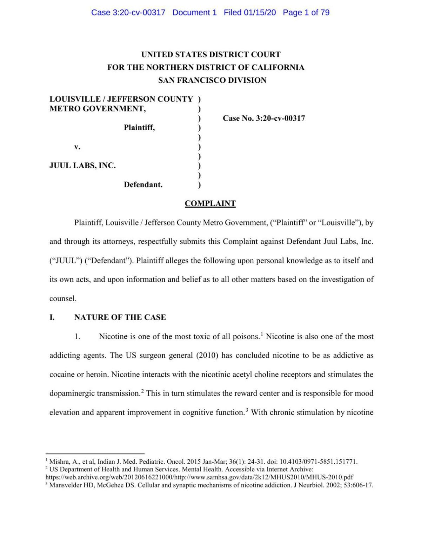Louisville lawsuit against JUUL Inc. (Jan. 15, 2020)