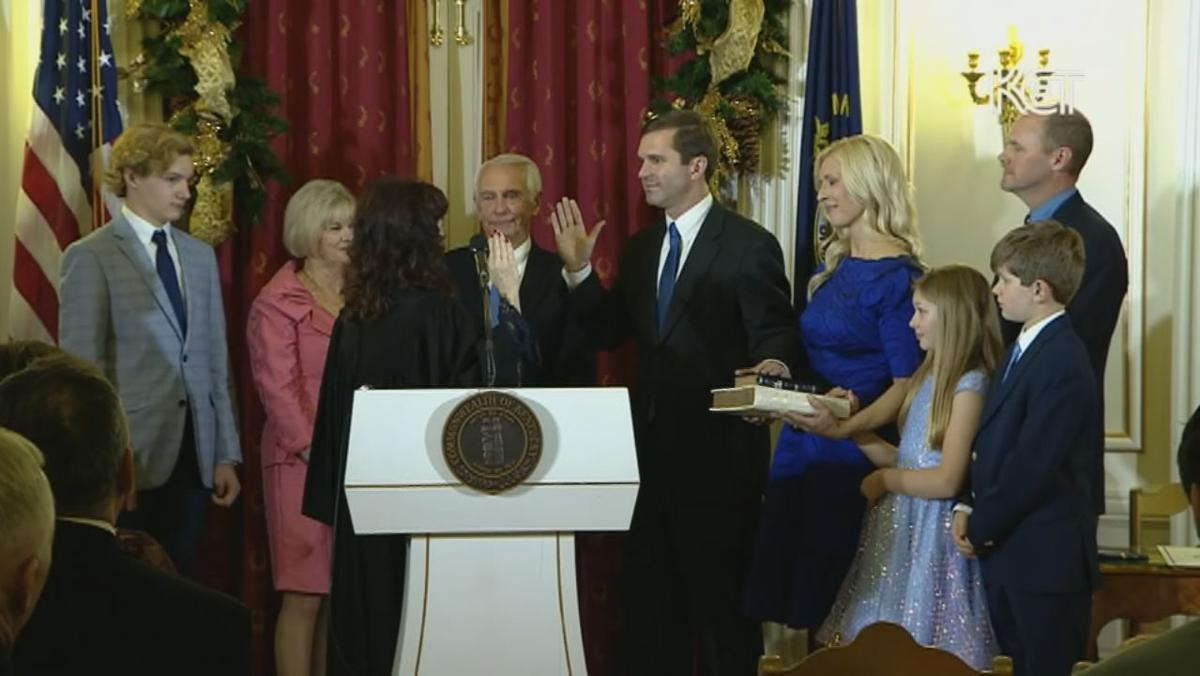Andy Beshear midnight swearing in