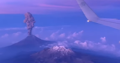 VIEW OF VOLCANO From Plane Flying Over Mexico...