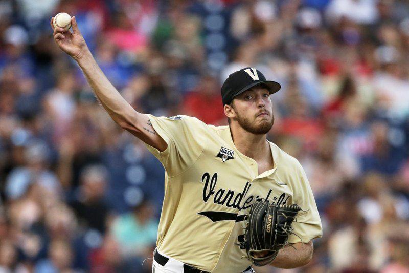 Vanderbilt starting pitcher Mason Hickman (44) throws to