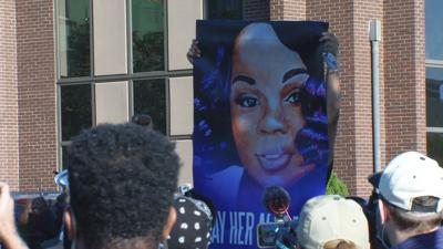 Breonna Taylor sign at rally outside AG Daniel Cameron's office in Louisville 9/18/20