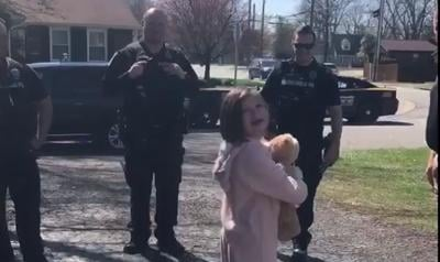 Clarksville girl surprised by Clarksville Police after birthday party canceled (March 25, 2020)