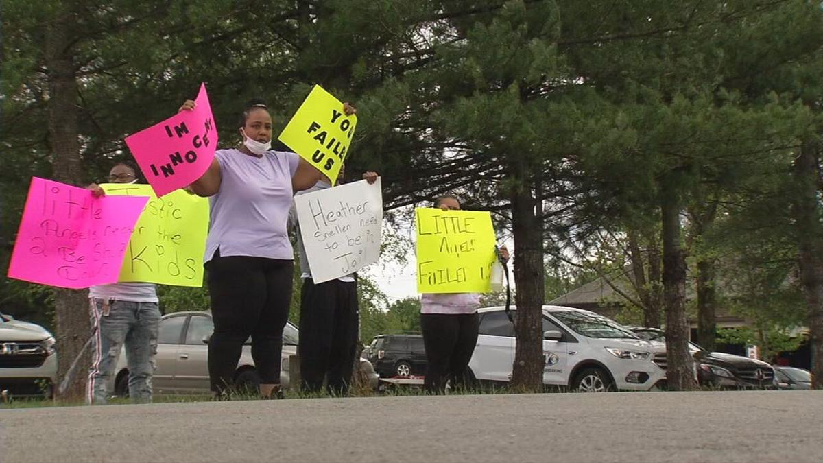 Protesters gather outside Little Angels Primary House