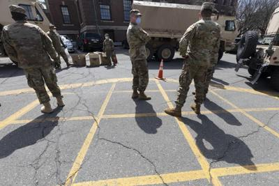 Massachusetts National Guard outside City Hall