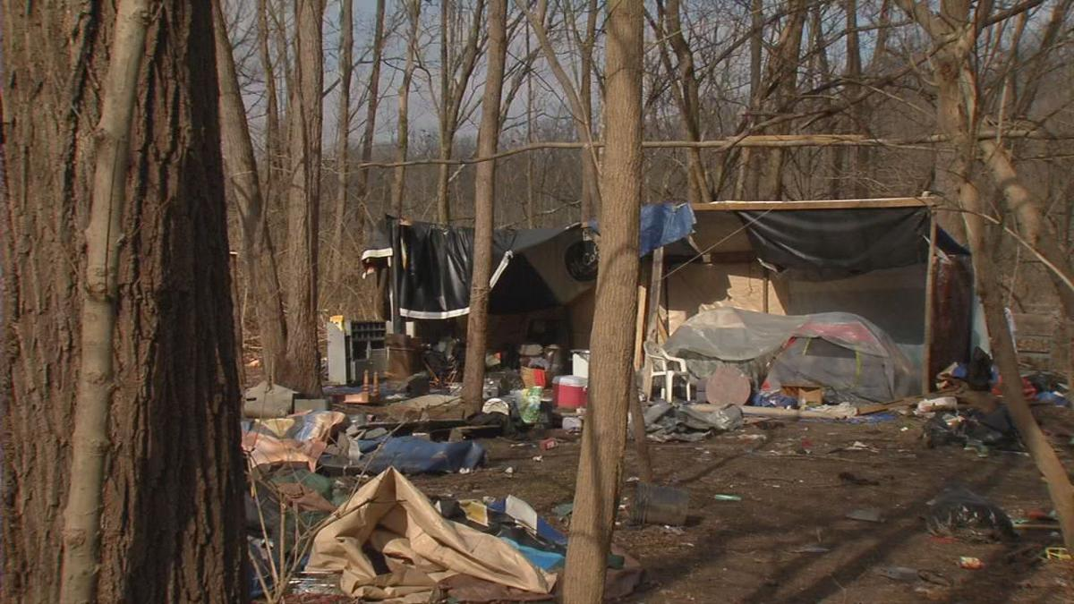 Homeless camp off Lexington Road