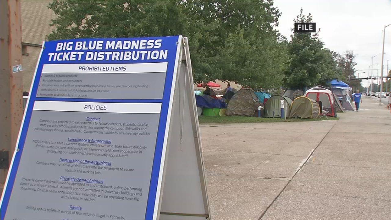 photo regarding Printable Uk Basketball Schedule identify Tent Metropolis society carries on exterior Memorial Coliseum as
