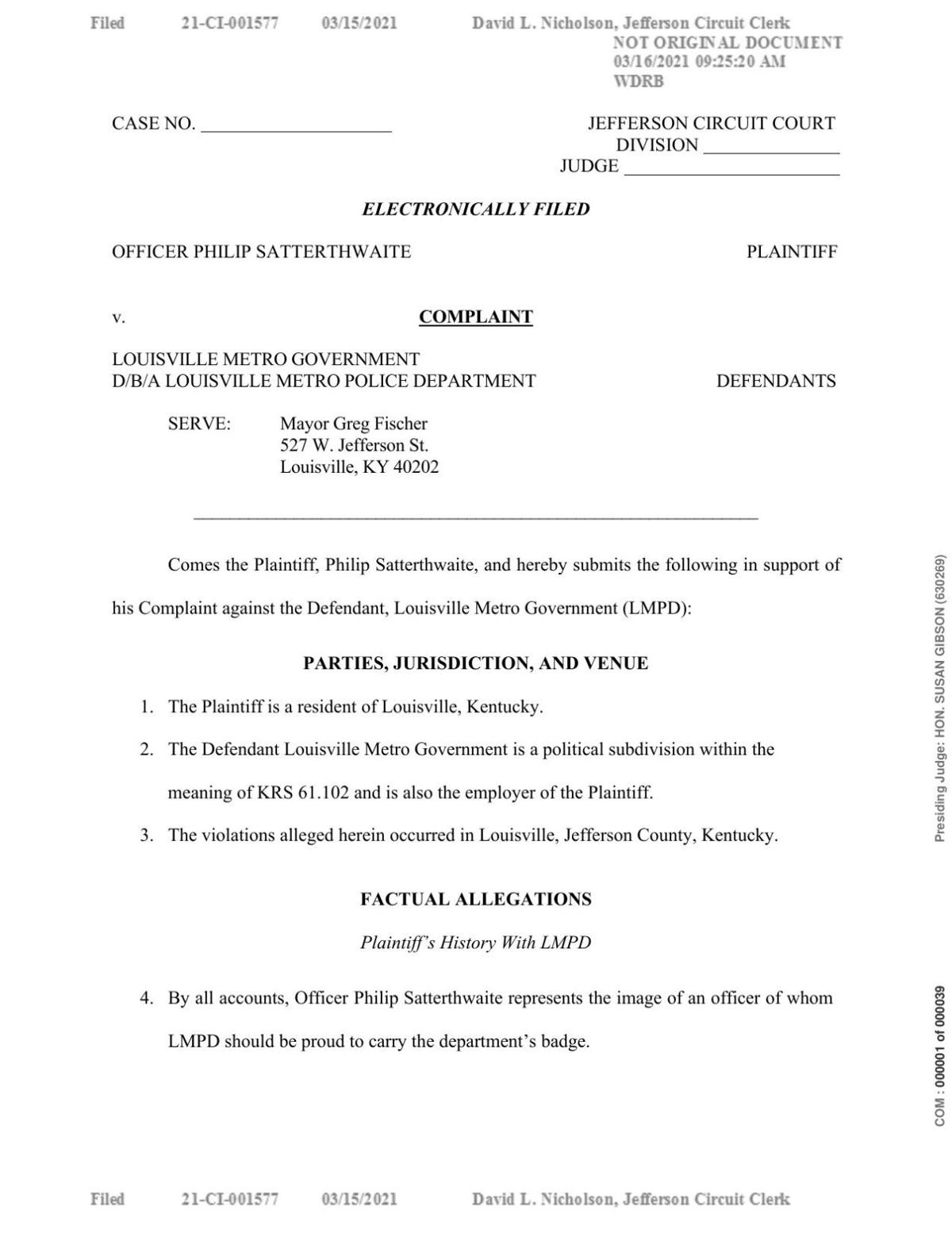 LAWSUIT: Satterthwaite vs LMPD