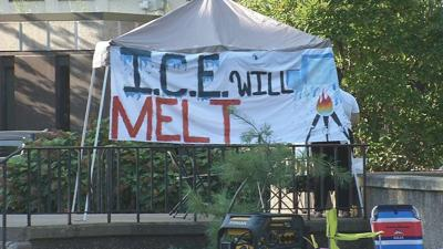 Occupy ICE protesters forced to evacuate new camp near Mazzoli Federal Building