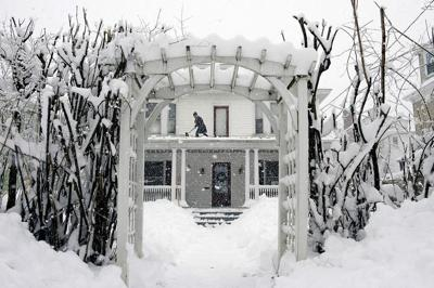 Snow in front of home in Maine