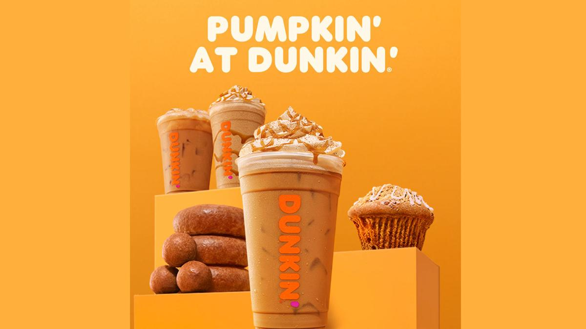 Pumpkin' at Dunkin' ad (Pumpkin spice products coming to Dunkin' early)