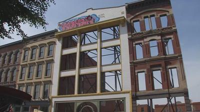 Graffiti sprayed onto historic facade at Whiskey Row