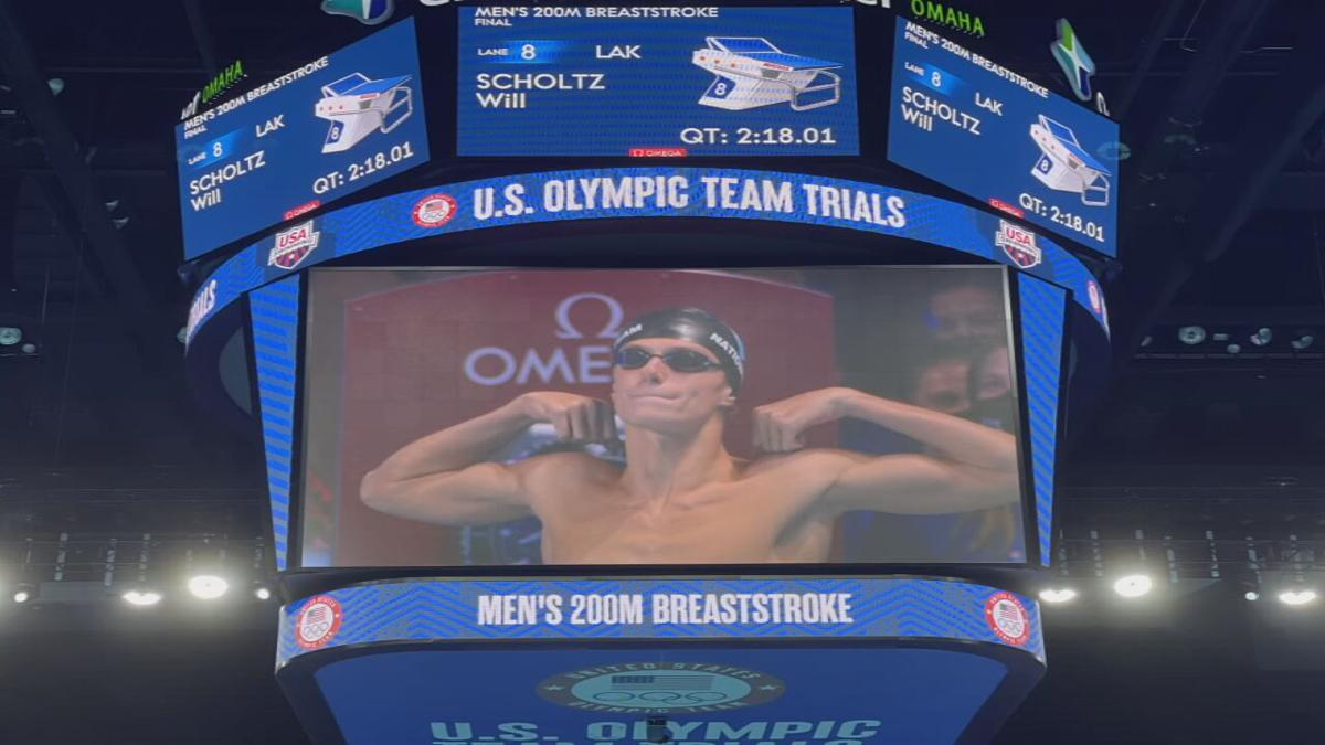 Swimmer Will Scholtz of Louisville after competing in a qualifying event