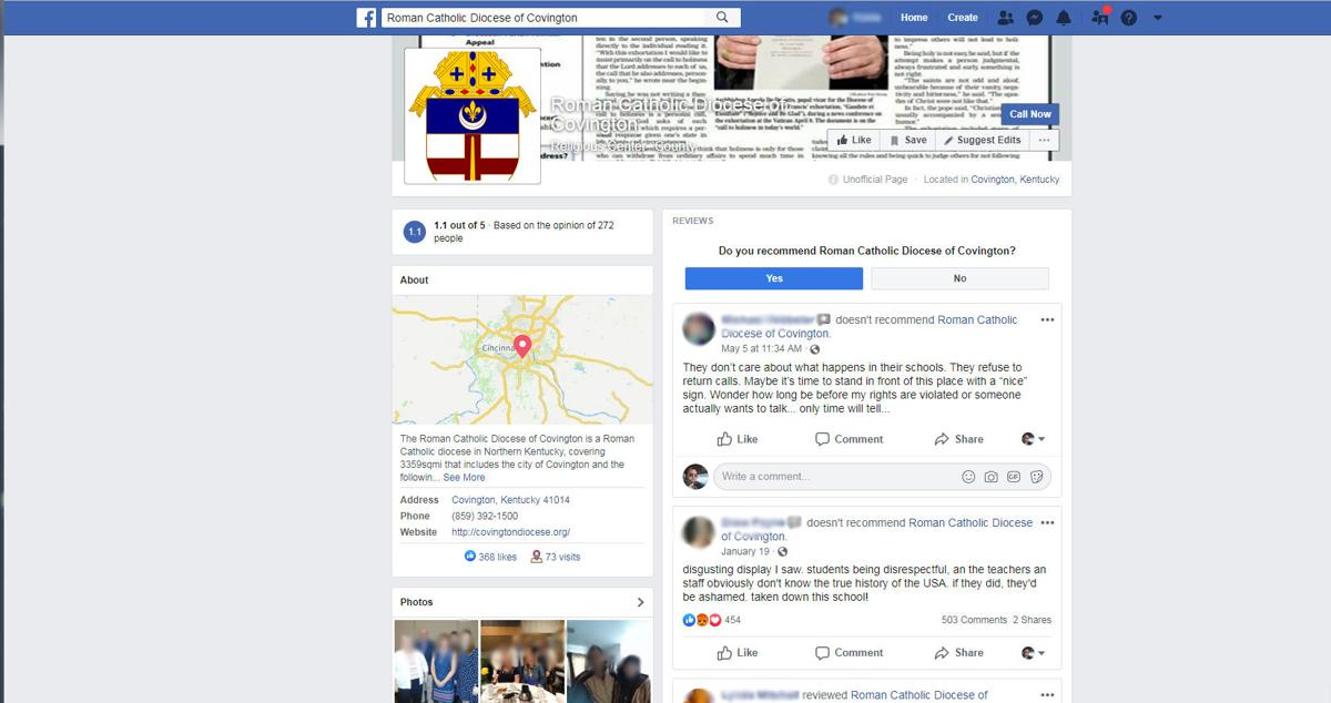 Covington Diocese unauthorized Facebook page