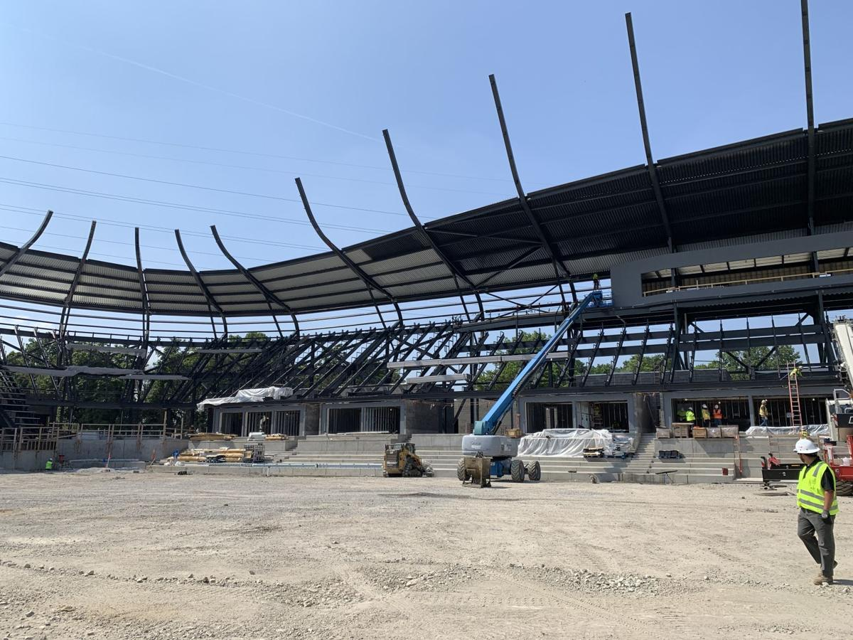Crews finished laying the steel structure on the stadium roof