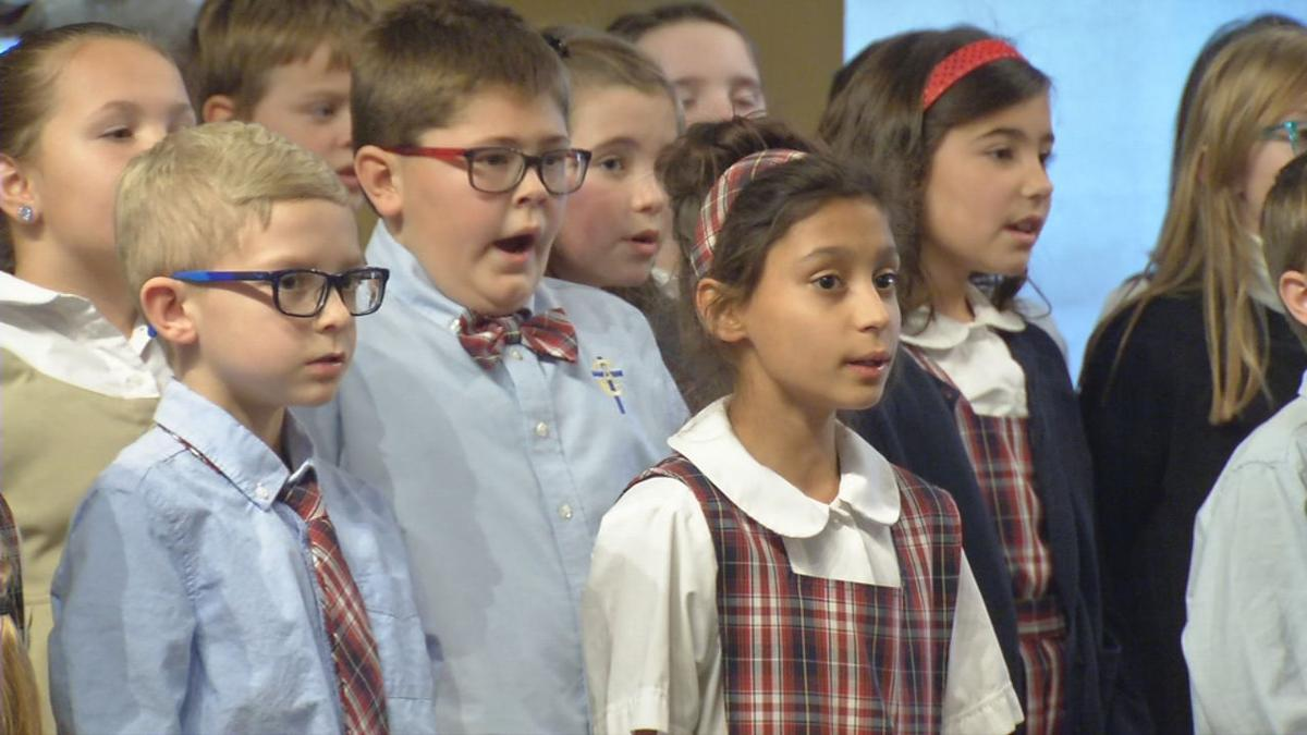 Christian Academy of Louisville students sing Christmas carols at Clarksville retirement home on Dec. 4, 2019