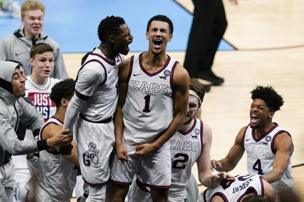 Gonzaga guard Jalen Suggs (1) celebrates making the game winning basket
