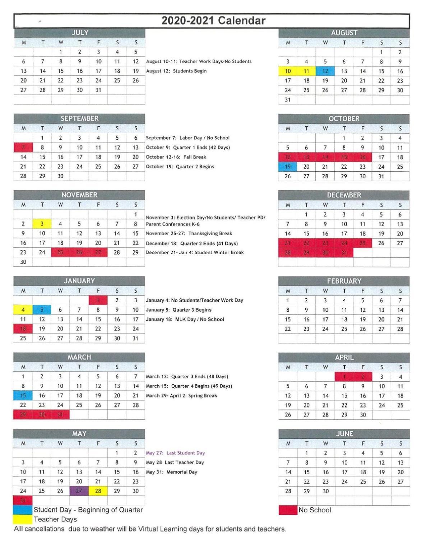 New Albany Floyd school calendar