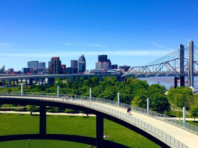Big Four Bridge Kentucky ramp and skyline