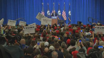 President Donald Trump at a rally in Louisville