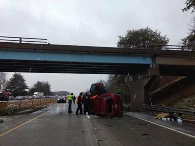 Man critically injured after vehicle falls from Indiana overpass