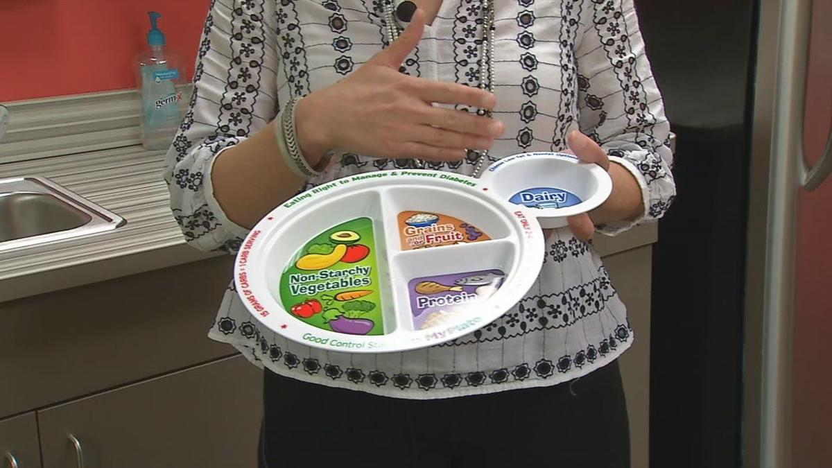 Plate labeled with healthy food items for children