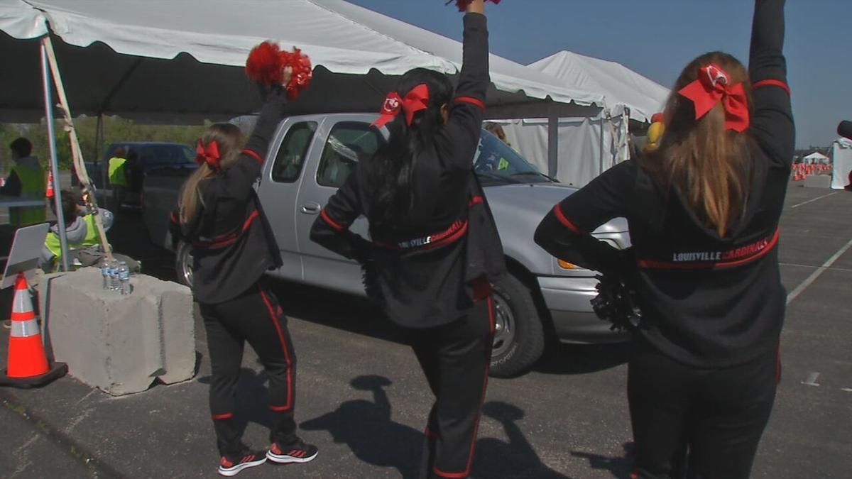 Louisville Cheerleaders at COVID-19 Vaccine Site