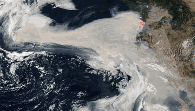 1,300 MILES! That's How Far The Winds of Change Moved Western Smoke Into The Pacific...