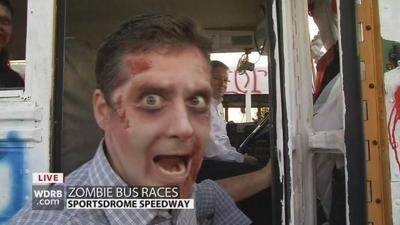 Zombies and bus racing combine at the Sportsdrome Speedway