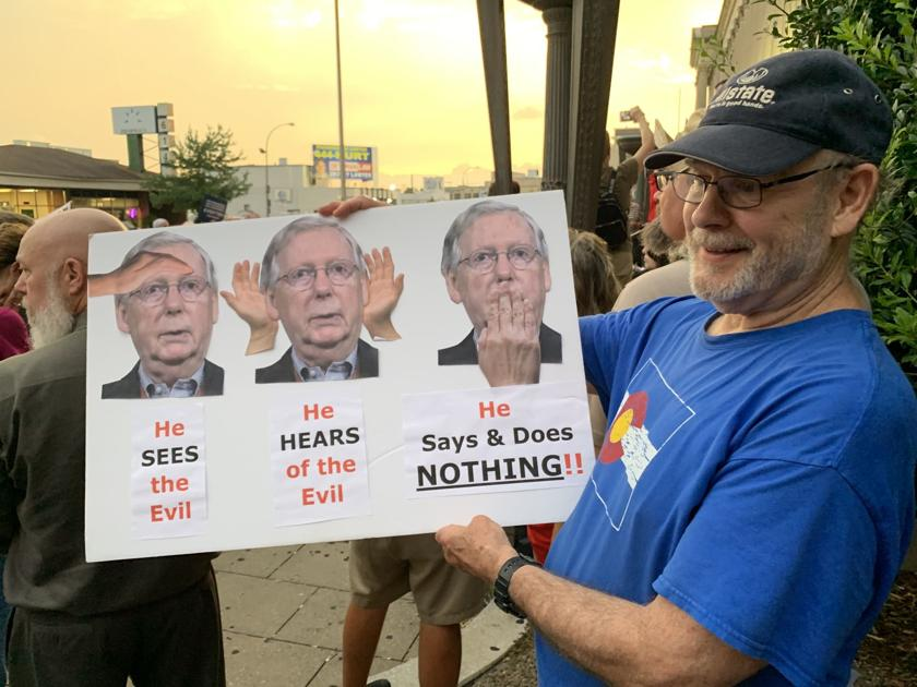 At second protest of Sen. McConnell this week, Yarmuth says first one crossed the line