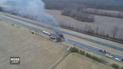 SKY CAM VIDEO   All lanes of I-65 reopen after fiery crash involving 3 semi-trucks