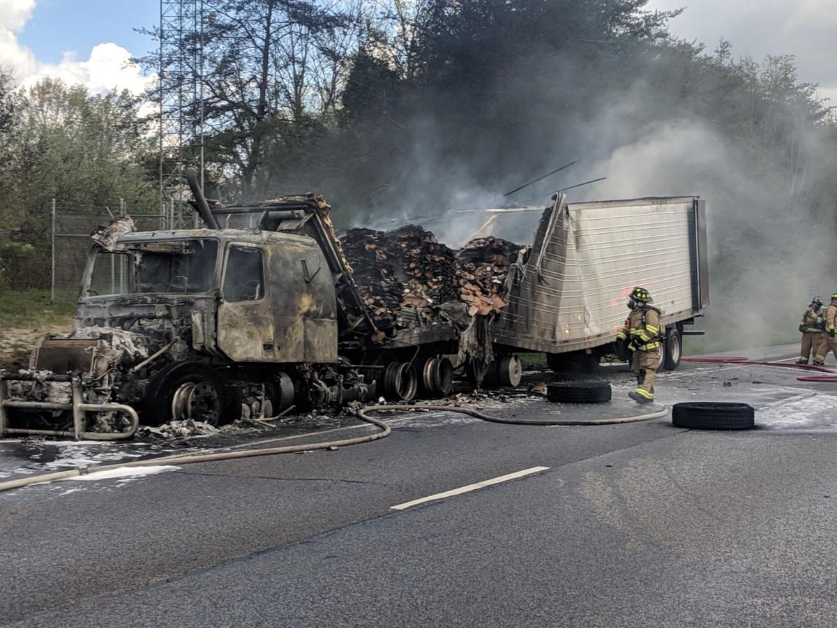 I-64 W in Floyd Co. tractor-trailer fire