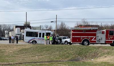 Motor vehicle crash involving TARC 3 bus and pickup truck on Dec. 3, 2019, 3rd Street Road