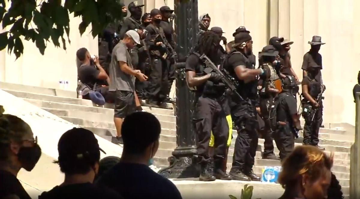 NFAC Black militia in downtown Louisville on Saturday, July 25, 2020