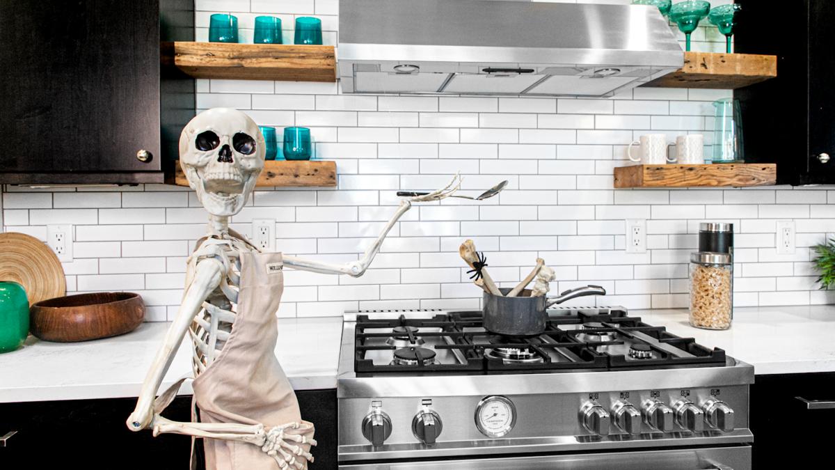 Skeleton at stove