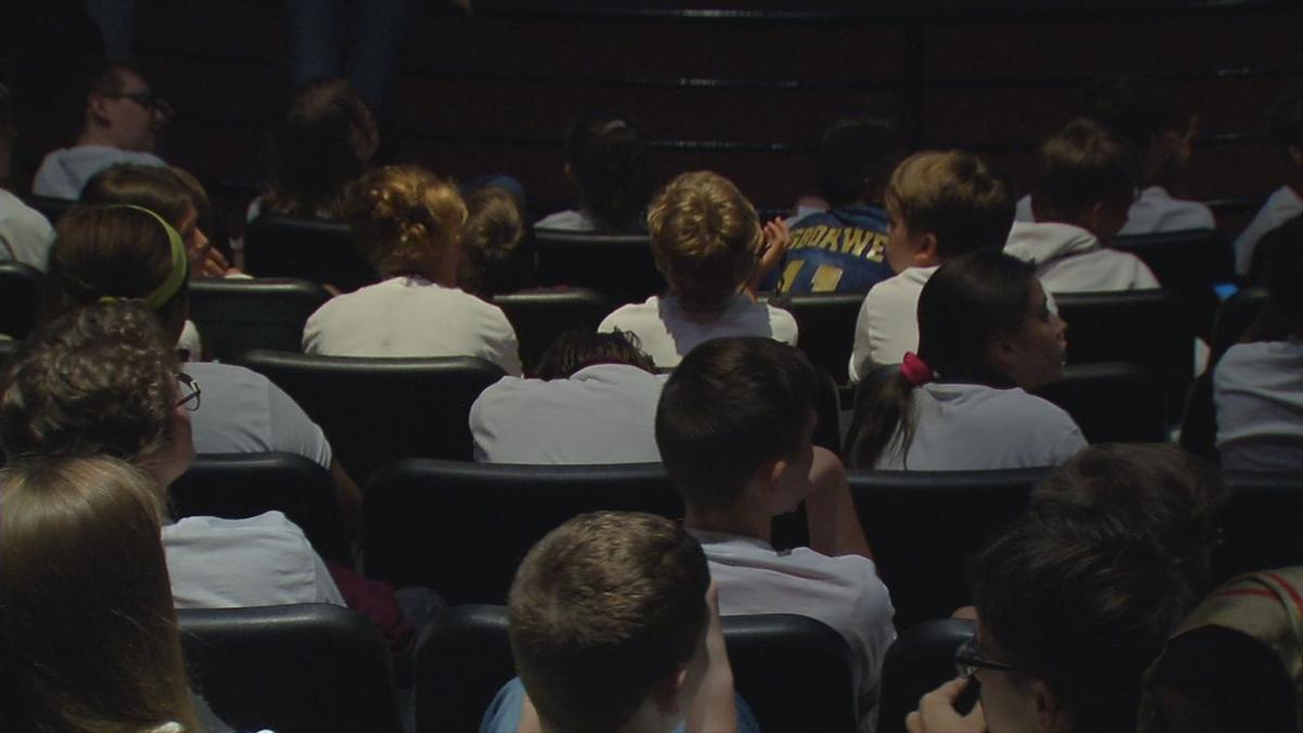 Students at Kentucky Science Center speak with astronauts aboard the International Space Station, Sept. 13, 2019
