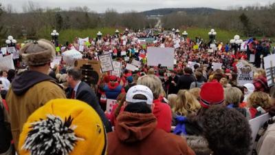 IMAGES | Thousands rally in Frankfort protest pension reform bill, education cuts