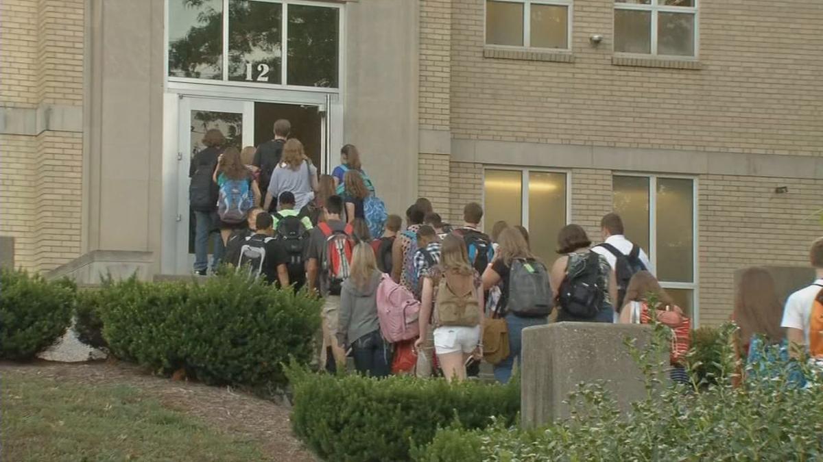Indiana schools generic students walking into school building